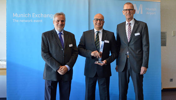 On the photo: Joseph Galea (middle), the Acting CEO of Air Malta, and Tonio-Joseph Farrugia (left), Manager Network of Air Malta, accepted the award from Andreas von Puttkamer (right), Senior Vice President Aviation Munich Airport, at a small ceremony in the Municon Conference Center