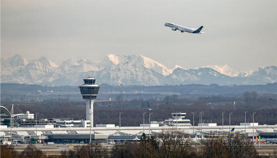 Munich Airport with the Alps