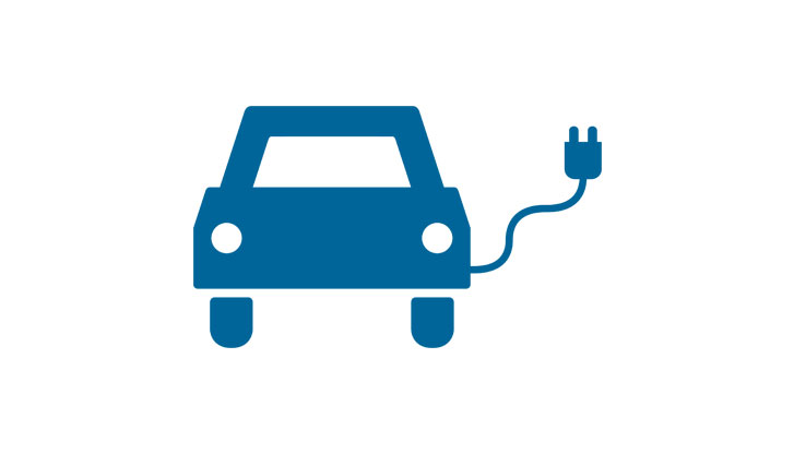 Symbol for electric car charging points