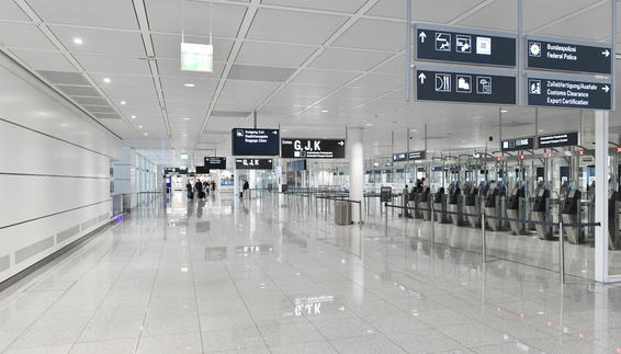 Due to the Coronavirus, most areas of Munich Airport are deserted.